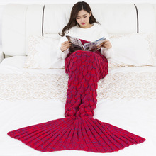 CAMMITEVER Mermaid Tail Blanket Yarn Knitted Handmade Crochet Mermaid Blanket Kids Throw Bed Wrap Super Soft Sleeping Bed