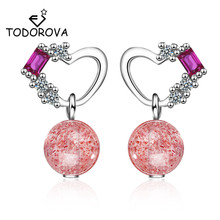 Todorova Korean Fashion Delicate Love Heart Cubic Zircon Stud Earrings for Women Strawberry Crystal Brincos Boucle Doreille