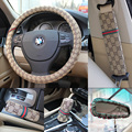 The newest universal car steering wheel covers girl fashion fiber material car head pillow safety belt steering wheel covers