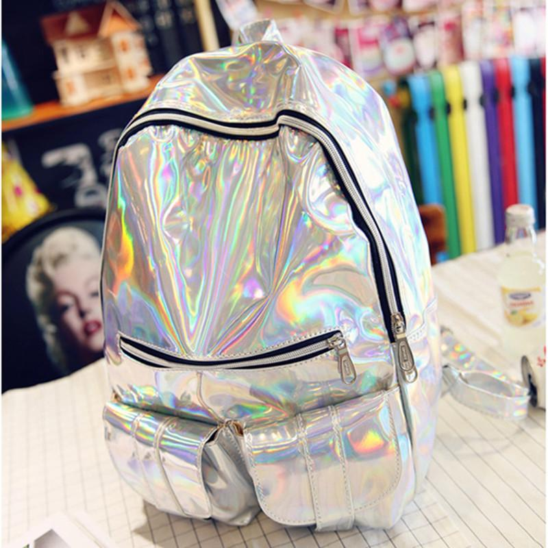 Hot sale Fashion Hologram Backpack Women School Shoulder Gold Silver and Purple women backpack hologram laser backpack цена