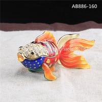 무료 배송 아름다운 금속 바다 물고기 모양의 Bejewed 에나멜 악세사리 상자 웨딩 선물 골드 물고기 악세사리 상자