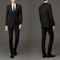 New Arrival Groomsmen Notch Lapel Groom Tuxedos Black Men Suits Wedding Best Man (Jacket+Pants+Tie+Hankerchief) C15