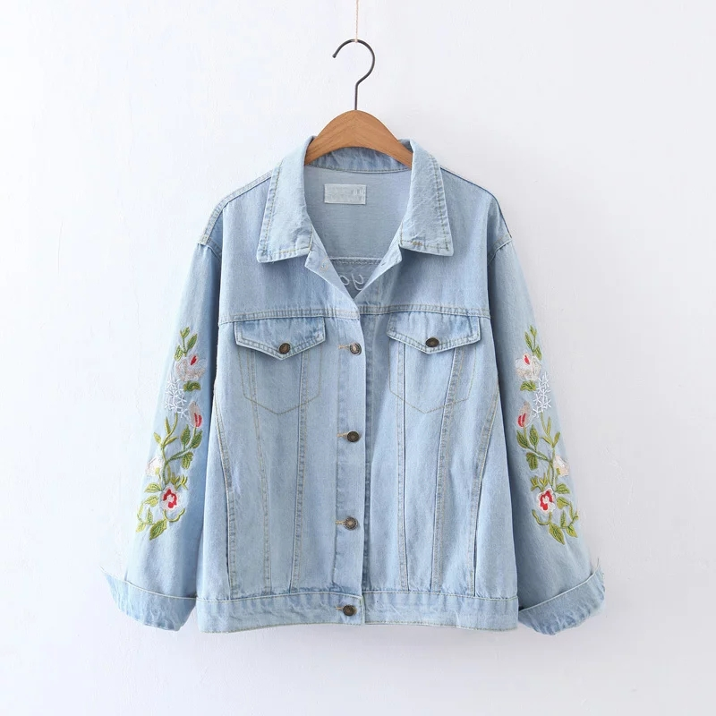 Freeshipping casaco feminino jacket font b women b font 2017 Floral embroidery Letters embroidery Washed denim