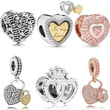 Couqcy New Arrival Love Heart Flower Forever Cartoon Crystal Beads Fit Original Pandora Charm Bracelets & Bangles DIY Jewelry