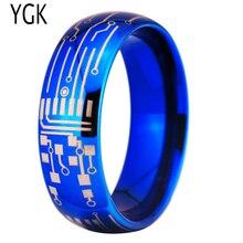 Бесплатная доставка YGK Jewelry Лидер продаж 8 мм Блестящий синий купол плате Дизайн Новый Мужская Мода Вольфрам кольцо