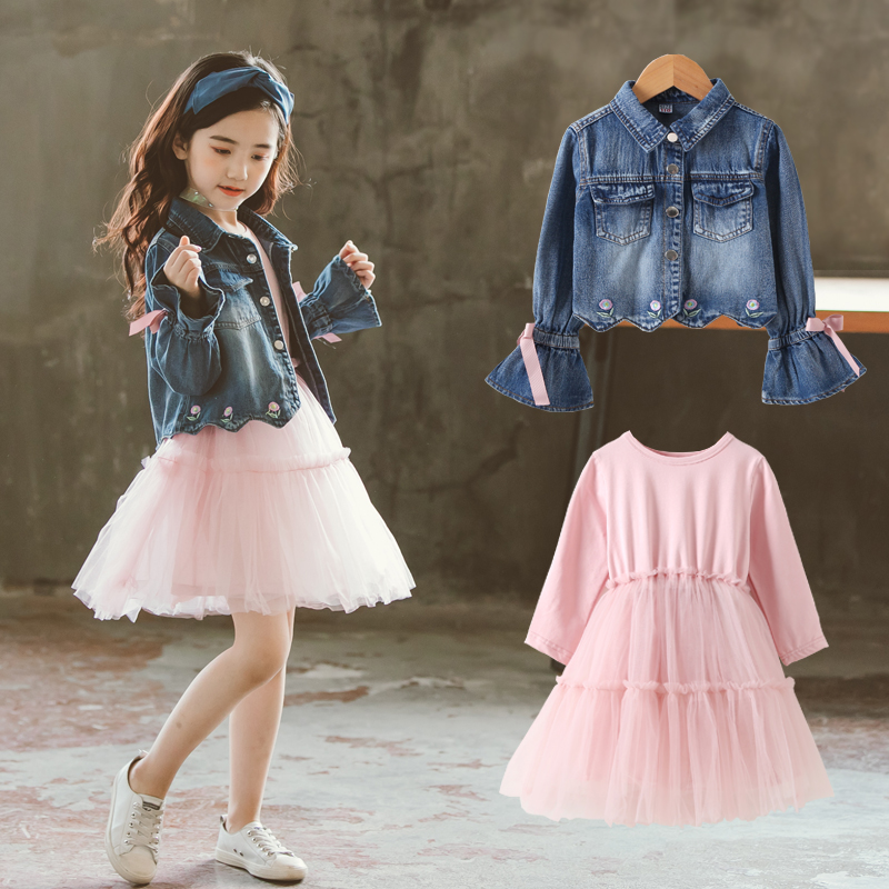2019 Big Girls Clothing Sets Autumn Children Cotton Long Sleeve Dress + Denim Jackets Outfit Girls Fashion Suit Kids Clothes Set