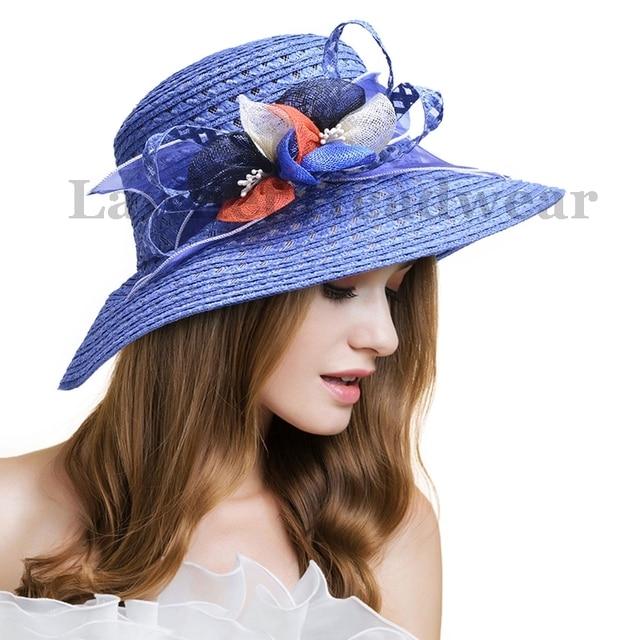 Straw Hat Ladies Kentucky Derby Hats Women Solid Floral