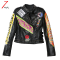 2017 Fashion Autumn Women Punk Heavy Metal Rivet Street Short Leather Jackets Pu Black Zippers Rivet Long Sleeve Motorcycle Coat