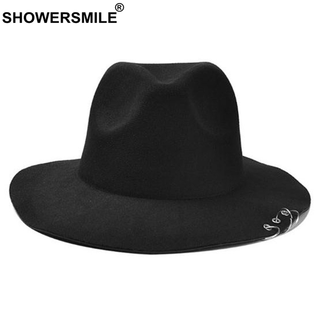 43295b17af8 SHOWERSMILE Black Hat Women Wool Vintage Fedora Hat With Rings Men Wide  Brim Caps Autumn Winter British Style Jazz Hat Fashion
