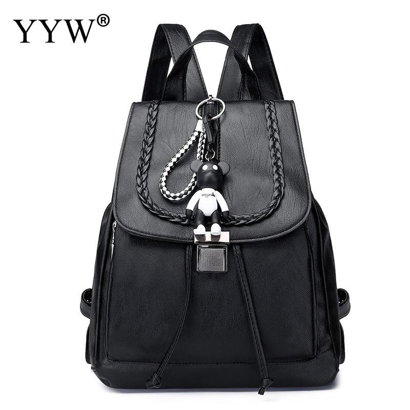Backpack Female Leather Drawstring Little-Bear Women Bookbag Doll Casual Bag Black High-Quality