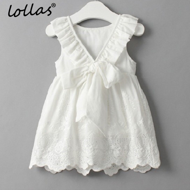 Lollas 2018 New Summer Baby Girl Dress Floral Lace Princess Dresses White Bow Gown Children Dress Girls Clothes For Kids