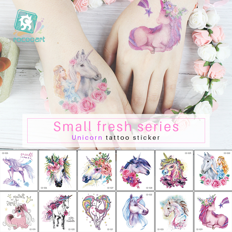 Rocooart 1 Sheet Temporary Tattoo Sticker Colorful Fake Tatoo Unicorn Flash Tatto Waterproof Small Body Art Taty For Children