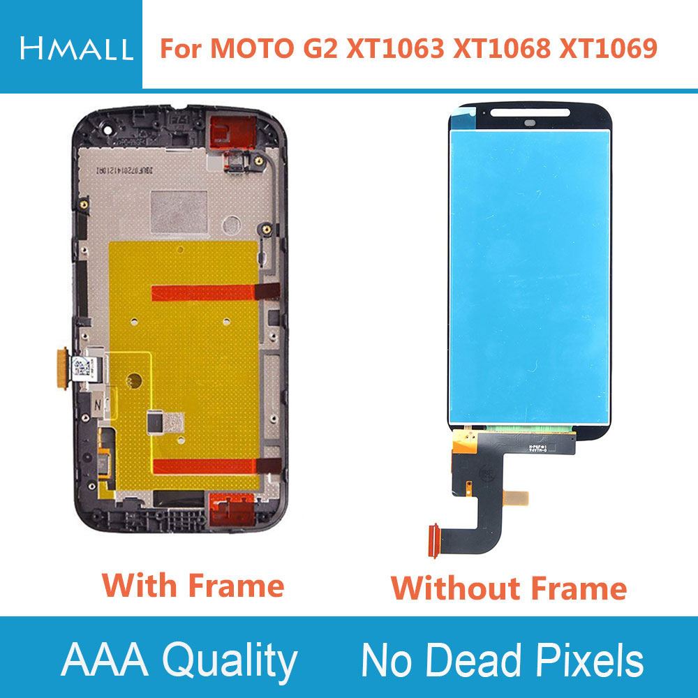LCD Display For Motorola Moto G2 Lcd Screen XT1063 XT1068 XT1069 Display Digitizer Touch Screen With Frame Assembly Replacement new lcd display touch screen digitizer with frame for motorola moto g2 g 2nd xt1063 1064 1068 1069 free shipping