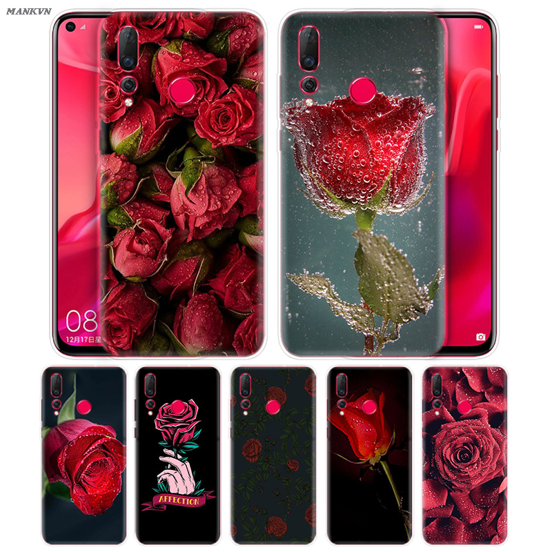 Red Rose Print TPU Soft Case Coque for Huawei <font><b>Honor</b></font> 10i 8S 8A 8C <font><b>8X</b></font> 10 9 Y9 Y7 Y6 Y5 Play Lite 2018 2019 Silicone <font><b>Cover</b></font> Fundas image