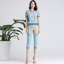 Chic women's pantsuits 2019 summer fashion print short sleeves Baseball jackets+pencil pants 2pieces set  A331 цены