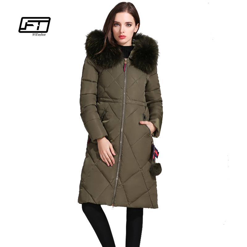 fitaylor hooded black winter jacket women 2017 big faux Fur collar plus size long parkas mujer casual Warm thick cotton coat qazxsw new korean women cotton jackets hooded long parkas big fur collar casual plus size winter jacket super warm outwear hb375