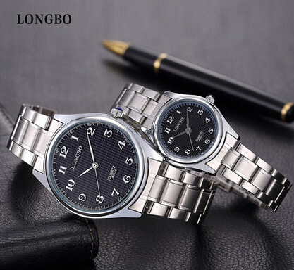 LongBo Famous Brand Luxury Lovers' Watches Women Full Stainless Steel Business Ladies Men Analog Quartz-watch Hour Clocks Female