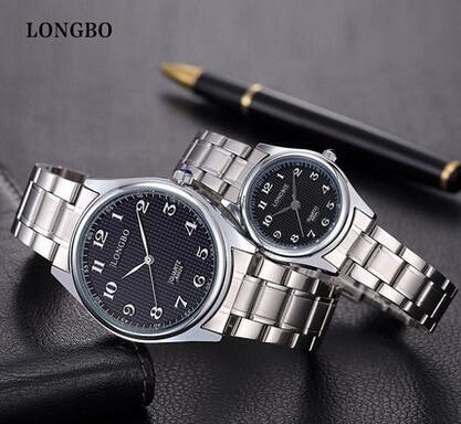 LongBo Famous Brand Luxury Lovers' Watches Women Full Stainless Steel Business Ladies Men Analog Quartz-watch Hour Clocks Female