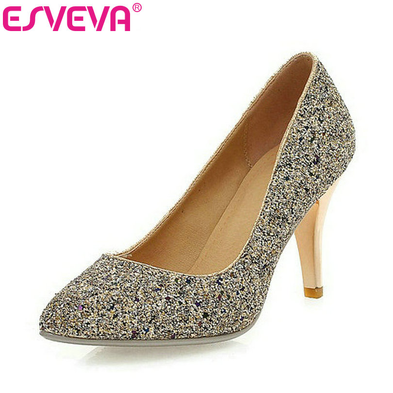 ESVEVA 2017 Women Pumps Sequined Cloth Metal Thin  High Heel Slip on Pointed Toe Spring and Autumn Party Ladies Shoes Size 34-43 fashion women ladies pumps solid color spring summer pointed toe thin heel shoes new arrival high quality brand slip on pumps