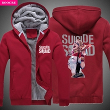 BOOCRE 2017 New Arrival Winter Men Women Suicide Squad Hoodie Harley Quinn Thick Hooded Warm Jacket Coat