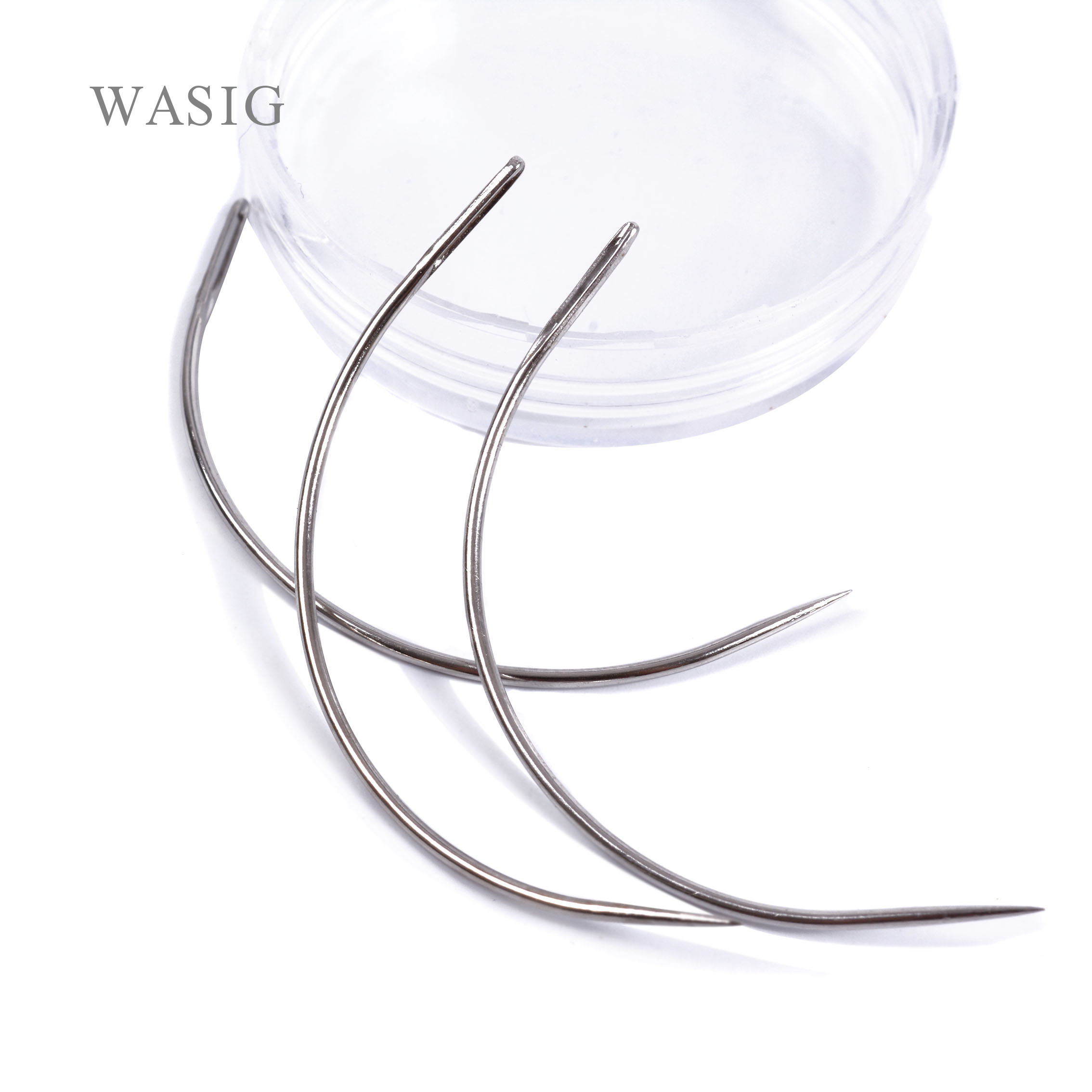 50pcs 9CM C Shape Curved Needles Threader Sewing/Weaving Needles For Human Hair Extension Weft Weaving