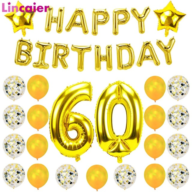 Lincaier 32 Inch 62 Cm 60th Birthday Gold Balloons Happy 60 Years Party Decorations Men Women Supplies