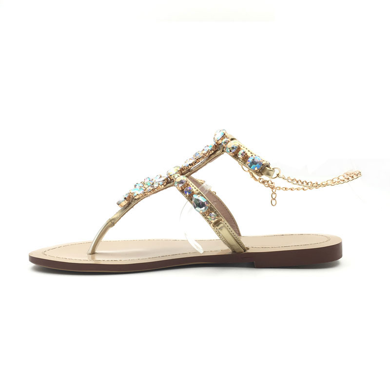9cb183e38e884 HUALUN High heels shoes woman sandals women Rhinestones Chains Flat Sandals  plus size Thong Flat sandals gladiator sandals -in Low Heels from Shoes on  ...