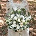 JaneVini элегантный белый Шелковый Свадебный букет свадебных цветов Искусственные розы Марий летний Свадебный искусственный букет brumiloft Boeket