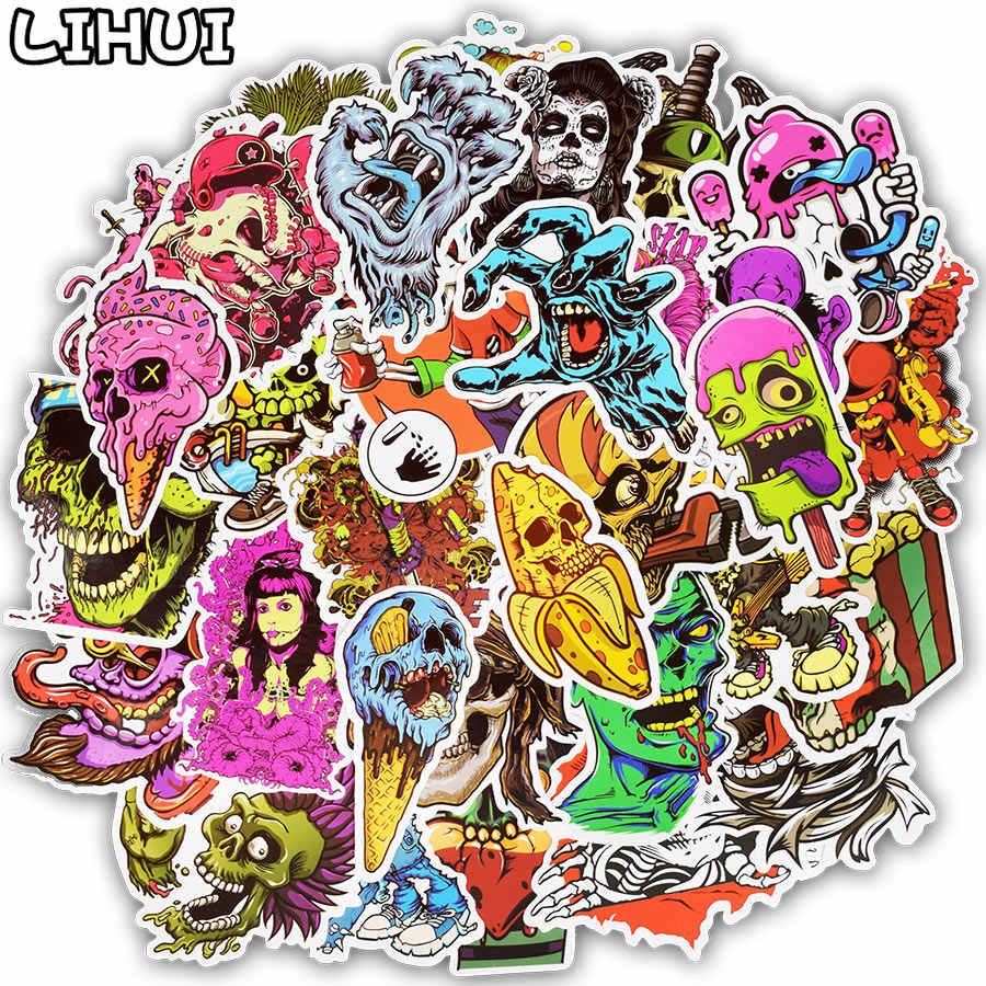 50 Pcs Terreur Serie Sticker Graffiti Skelet Dark Grappige Stickers Voor Diy Sticker Op Reistas Laptop Skateboard Gitaar Koelkast