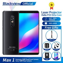 Blackview MAX 1 Projector Mobile Phone AMOLED 4680mAh Android 8.1 Mini Projector Portable Home Theater 6GB+64GB Smartphone