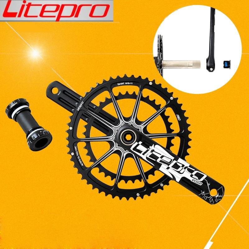 Litepro double plateau pedivela pignon vélo de route groupe de manivelle pédalier 53-39 t 50-34 t 52-36 t 170/172. 5mm vélo pliant