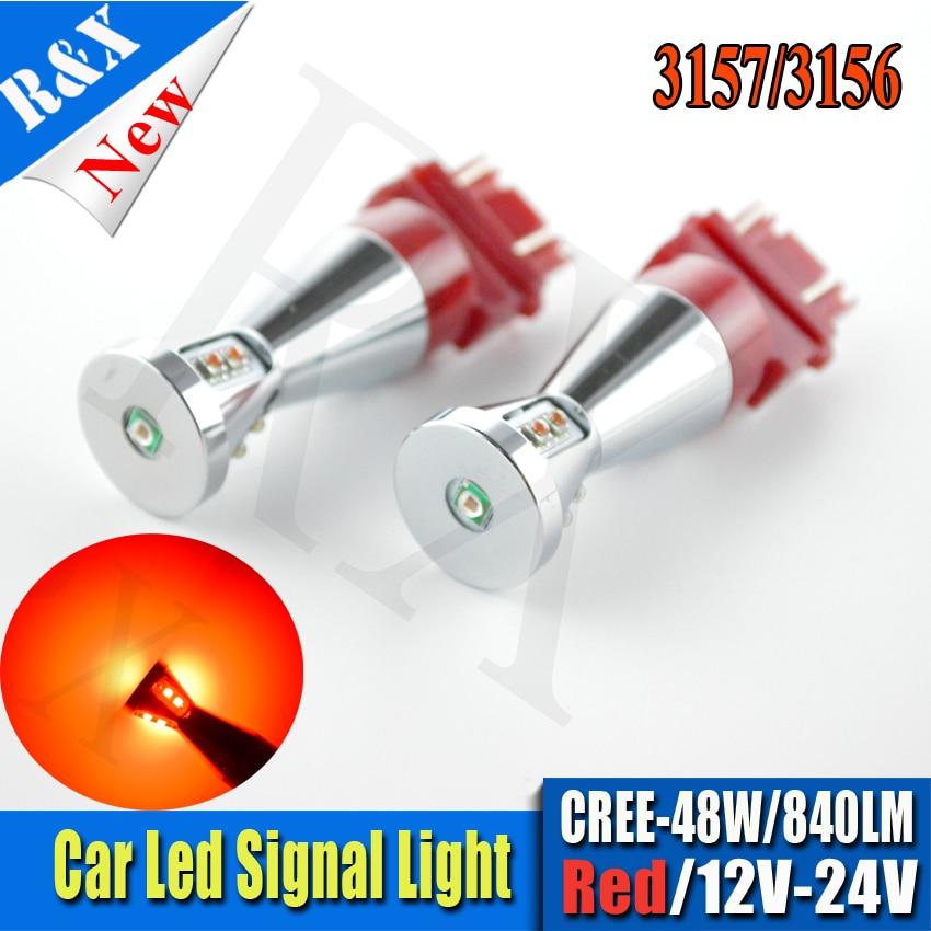 Pair 3157 3156 car light Source 12V-24V 48W XBD White Red Amber led High Power 840lm P27W led car bulbs Brake Lights Red Parking