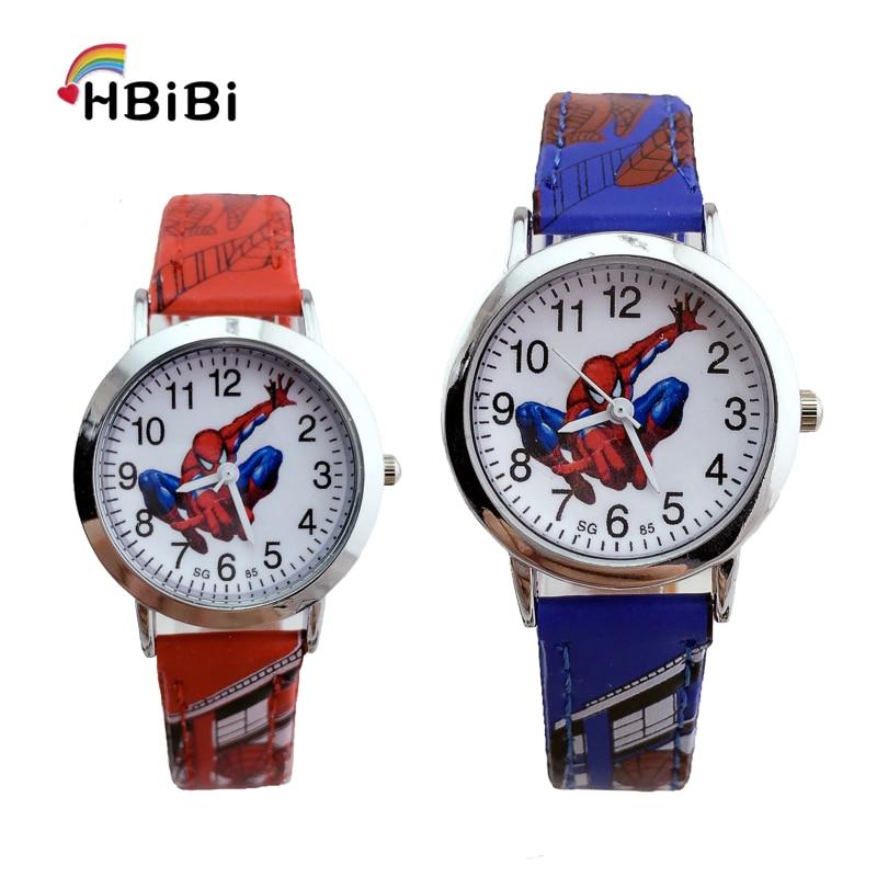 Hot Sale Cartoon Spiderman Children Watch Kids Watches Leather Quartz Wristwatch For Girl Boy Kid Gift Clock Child Watch Hour