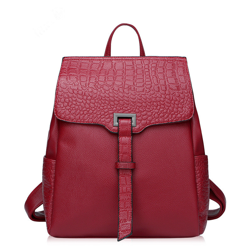 Wine red genuine leather women backpack designer crocodile embossed backpacks stylish school bags for college students 3 colors crocodile embossed pattern bright colour feminine genuine leather laptop backpack