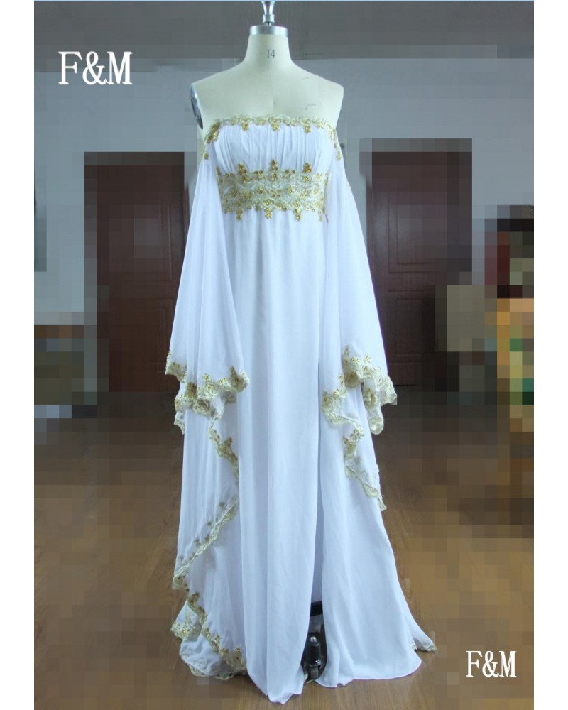 30aa2d113eb Custom Made Real Photo Formal Dress With Gold Lace White Chiffon Long  Maternity Plus Size Evening Dresses 2016 New Arrival-in Evening Dresses  from Weddings ...