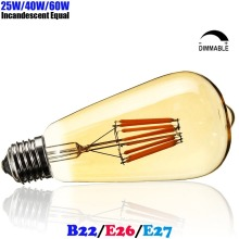 ST64 LED Filament Vintage Teardrop Light Bulb Edison E27 Bombilla De Filamento LED 4W 6W 8W 220V 230V 240V Dimmable Ampoule LED