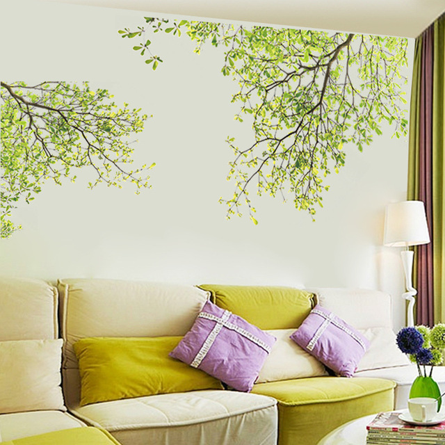 Green Leaves Tree Branches Wall Decals Tv Background Living Room Bedroom Decor Graphic Poster