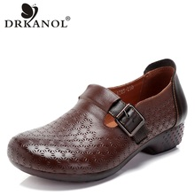 DRKANOL Spring Flat Shoes Woman 2019 Vintage Flats Women Casual Shoes Genuine Leather Soft Bottom Ladies Leather Shoes Size 41 недорого
