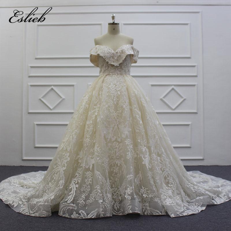 Eslieb Luxury Sweetheart Royal Train Wedding Dress 2019