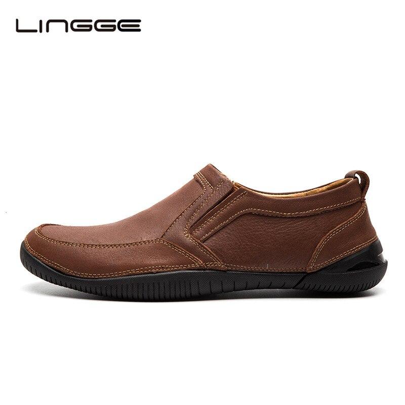LINGGE Cuero Hechos A Mano Zapatos Para Hombre Zapatos Casuales de Cuero de Gran