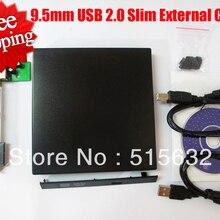 9,5 мм USB 2,0 Тонкий внешний карман для SATA CD DVD RW устройство для записи дисков