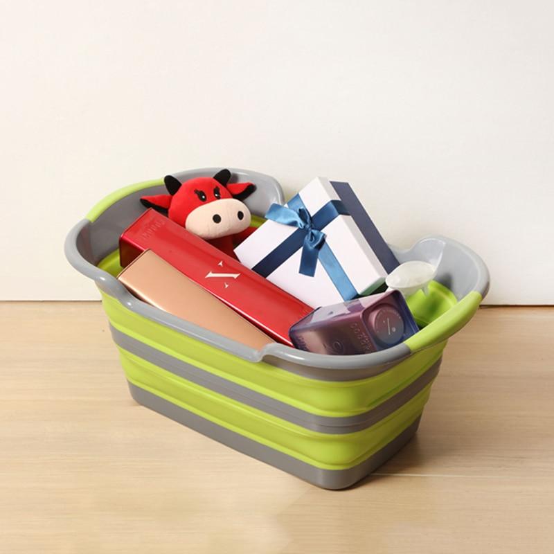 19L большая корзина для белья игрушка Colthes хранения Корзина для пикника Travel Box Спальня стирки одежды Box Orgnizer ручка Stackable Bin ...