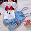 2015 NOVO verão Dos Desenhos Animados Minnie roupas crianças set 2 pcs cobre camisas terno da menina + calças ternos Frete grátis
