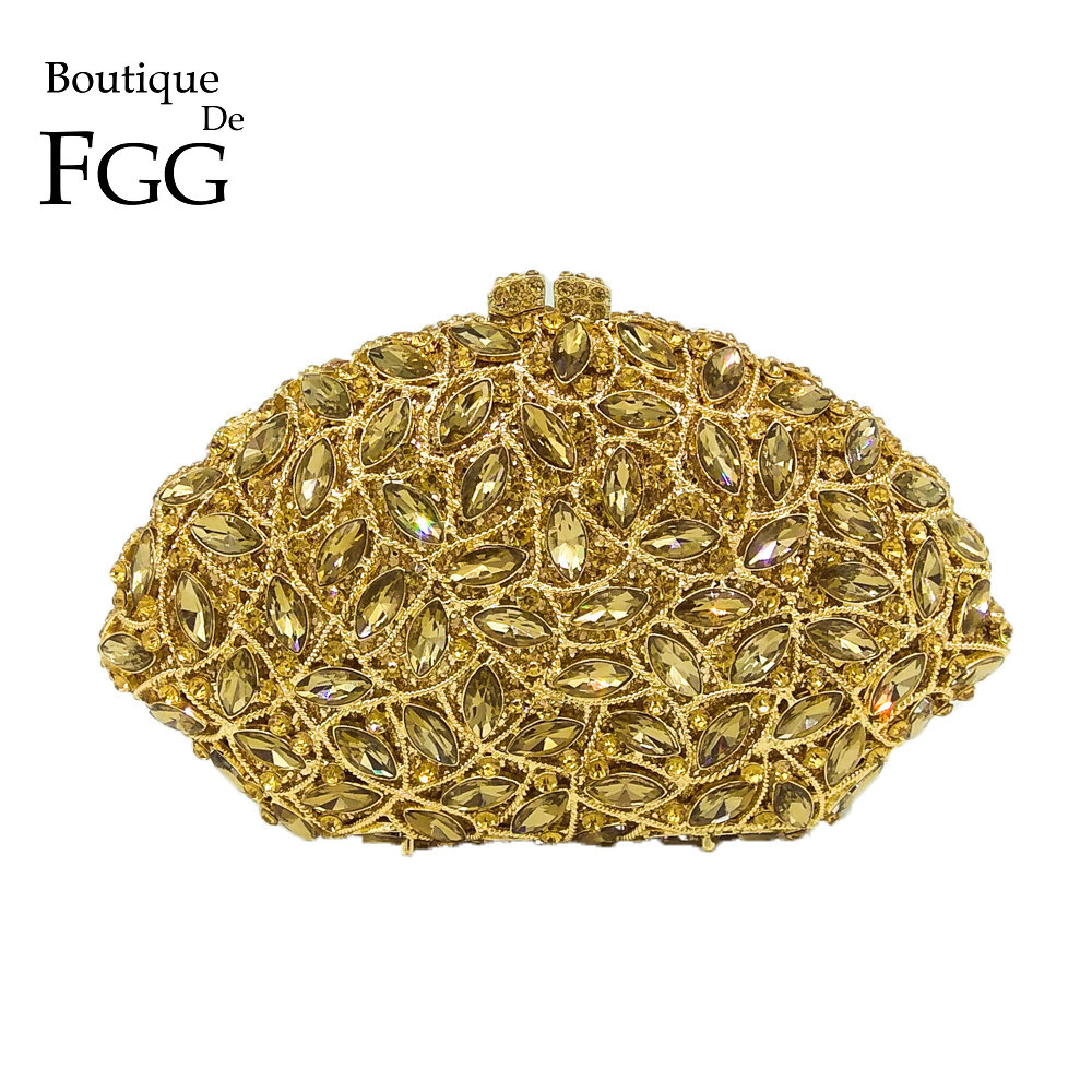 Boutique De FGG Elegant Dazzling Hollow Out Women Gold Crystal Evening Bag Wedding Formal Dinner Party Clutch Handbag and Purse gold plating floral flower hollow out dazzling crystal women bag luxury brand clutches diamonds wedding evening clutch purse