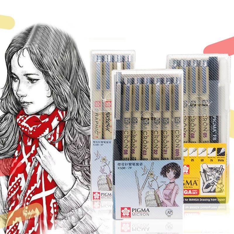 Markers Set Pigma Micron Pen Needle Soft Brush Drawing Painting Waterproof Pen 005 01 02 03 04 05 08 1.0 Brush Art Markers