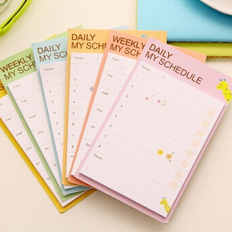 1pack/lot 98*70mm New Fresh Weekly & Daily Students Schedule Notepad Sticky Note Memo Message Post Writing Scratch Pad