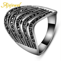 Ajojewel Antique Female Jewelry Trendy Vintage Pave CZ Diamonds Silver Plated Black Rings For Women