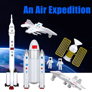 Image 2 - 7Set Space Exploration Rocket Manned Space Flight Simulation  Spaceman Satellite Model Toys Fighter Early Education