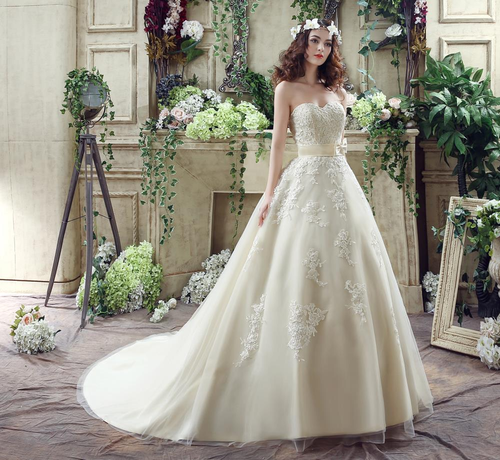 Gorgeous Lace Appliques Champagne Colored Wedding Dresses Ball Gown ...