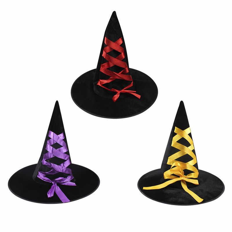 Halloween Corduroy Topi Penyihir Dewasa Topi dengan Pita Mewah Cosplay Terpercaya Masquerade Pihak Menari Topi Desain Baru